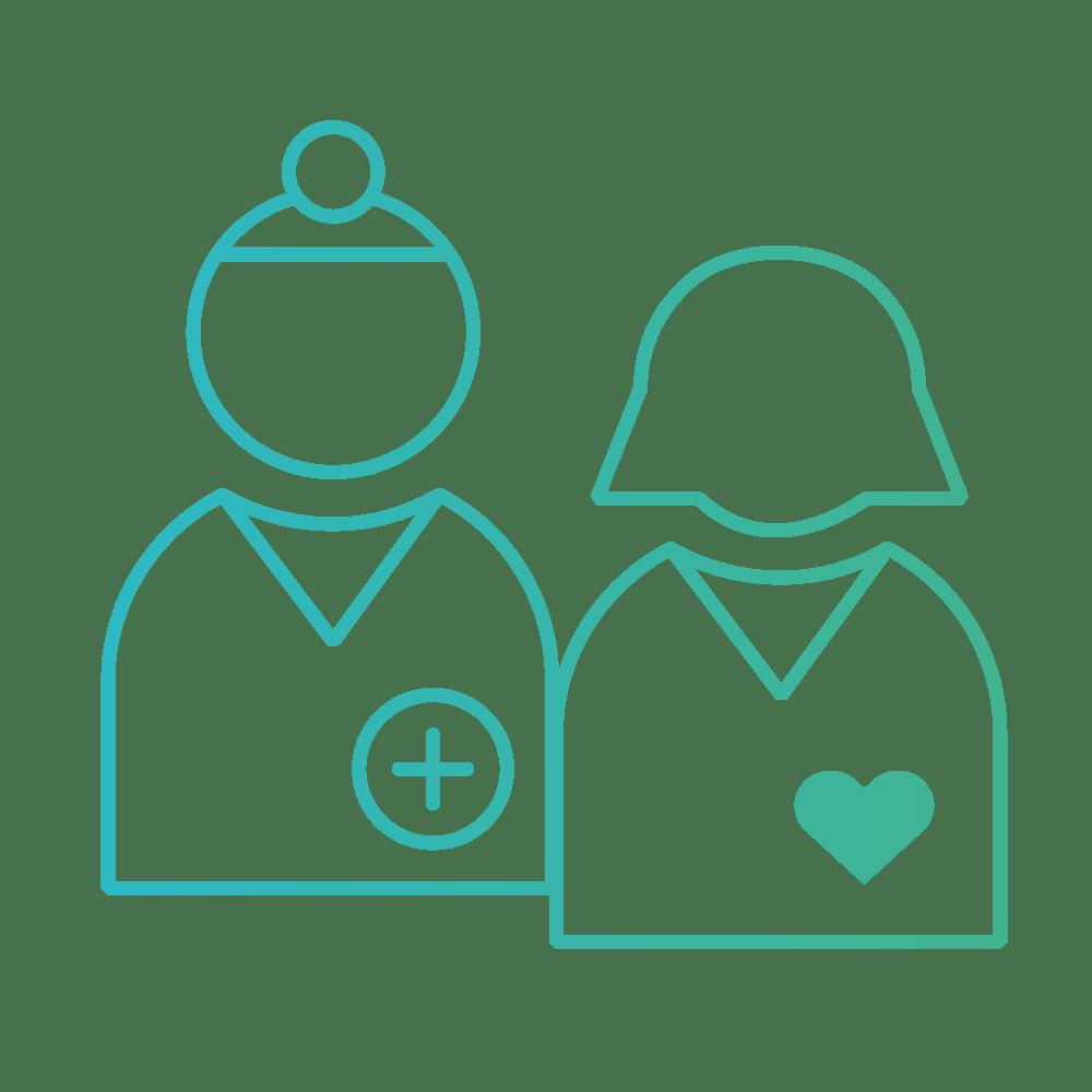 pictogramme dégradé médecin praticien et patient