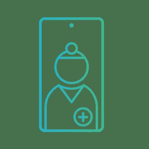 Pictogramme médecin praticien sur smartphone téléphone portable